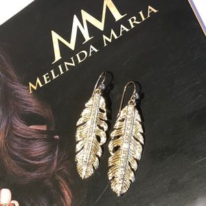 MELINDA MARIA FEATHER CZ EARRINGS
